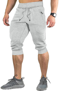 Men's Cotton Casual Shorts 3/4 Jogger Capri Pants Breathable Below Knee Home Lounge Short Pants with Three Pockets