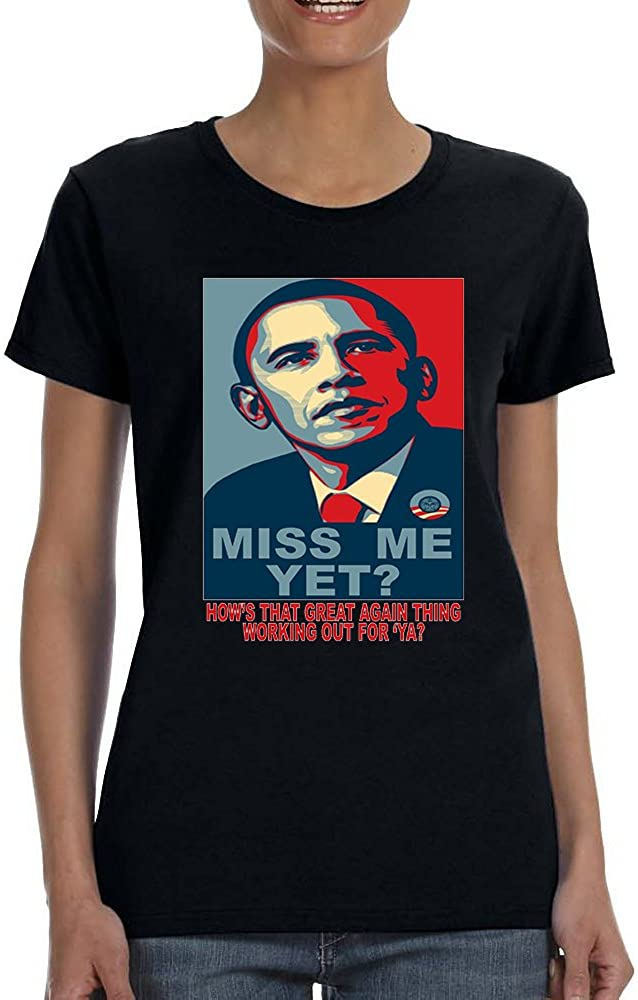 Allntrends Women's T Shirt Miss Me Yet Obama Trump President Tee