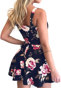 Womens Floral Sexy V Neck Tie Front Boho Romper