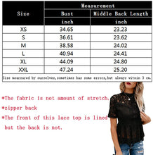 Load image into Gallery viewer, Tobrief Women's Short Sleeve Sexy Sheer Mesh Lace Blouse Peplum Top
