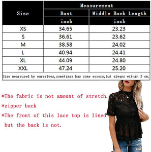 Tobrief Women's Short Sleeve Sexy Sheer Mesh Lace Blouse Peplum Top