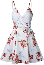 Load image into Gallery viewer, V Neck Spaghetti Strap Sleeveless Mini Floral Print Swing Dress with Belt