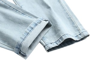Men's Blue Skinny Jeans Stretch Washed Slim Fit Pencil Pants
