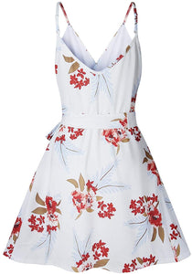 V Neck Spaghetti Strap Sleeveless Mini Floral Print Swing Dress with Belt