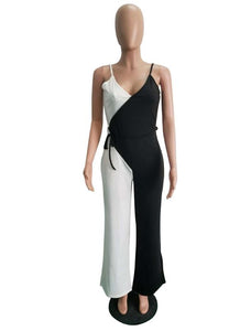 Spaghetti Strap Wide Leg Double Color Jumpsuit