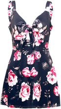 Load image into Gallery viewer, Womens Floral Sexy V Neck Tie Front Boho Romper