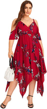 Load image into Gallery viewer, Women's Plus Size Cold Shoulder Floral Slit Hem Tropical Summer Maxi Dress
