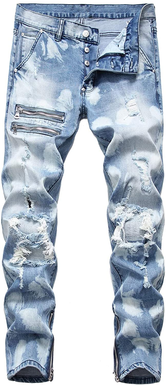 Mens Destroyed Ripped Straight Fit Jeans