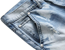 Load image into Gallery viewer, Mens Destroyed Ripped Straight Fit Jeans