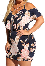 Load image into Gallery viewer, Sexy Strap V-Neck Women's Plus Size Floral Cold Shoulder Mini Dress
