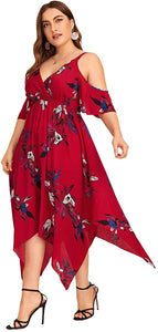 Women's Plus Size Cold Shoulder Floral Slit Hem Tropical Summer Maxi Dress