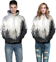 Load image into Gallery viewer, Unisex Realistic Winter Forest Printed Hip Hop Street Style Hip Hop Sweatshirt Pullover Hoodie for Men Women