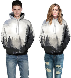 Unisex Realistic Winter Forest Printed Hip Hop Street Style Hip Hop Sweatshirt Pullover Hoodie for Men Women