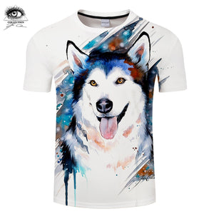 Husky by Pixie cold Art Funny Tshirts 3d Men T-shirts Dog T shirts Male Camisetas Hombre Animal Printed Tops Tees