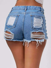 Load image into Gallery viewer, Womens High Waisted Ripped Jean Short