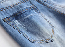 Load image into Gallery viewer, Men's Ripped Distressed Destroyed Straight Fit Washed Denim Jeans