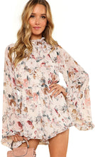 Load image into Gallery viewer, Women's Floral Printed Ruffle Bell Sleeve Loose Fit Rompers
