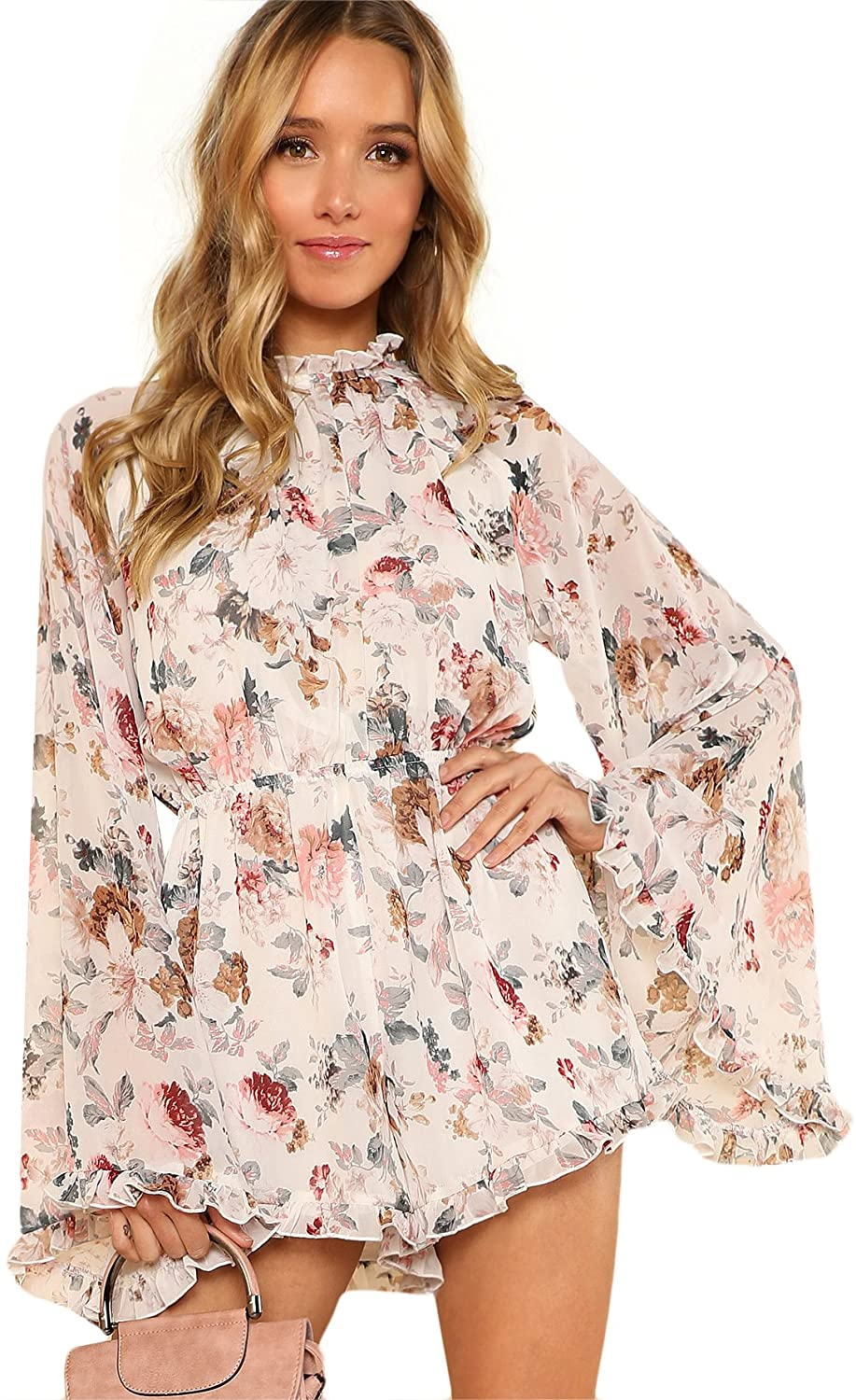 Women's Floral Printed Ruffle Bell Sleeve Loose Fit Rompers