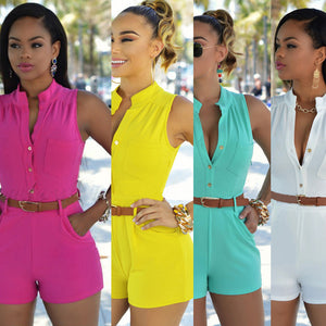 Sexy Button down V -Neck  Rompers with belt