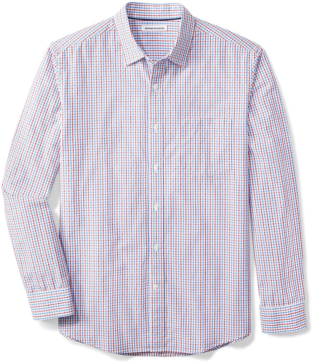 Amazon Essentials Men's Regular-Fit Long-Sleeve Plaid Casual Poplin Shirt