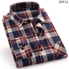 Load image into Gallery viewer, Mens plaid flannel long sleeve shirt