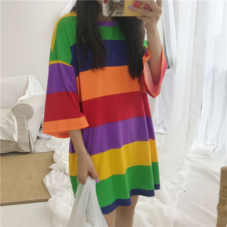 Streetwear Rainbow Striped Women T-shirt