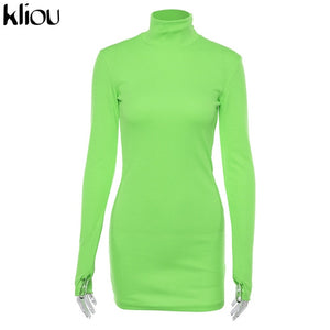 skinny dress solid Fluorescence colors turtleneck full sleeve with thumb holes ladies casual dresses