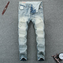 Load image into Gallery viewer, Light Blue High Quality Slim Fit Ripped Jeans