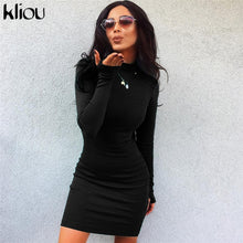 Load image into Gallery viewer, skinny dress solid Fluorescence colors turtleneck full sleeve with thumb holes ladies casual dresses