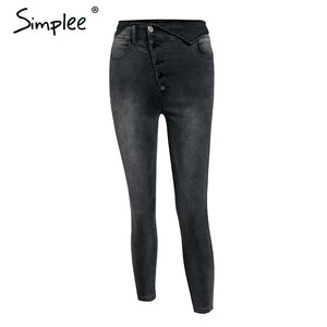 Sexy High Waisted buttons fold Skinny jeans