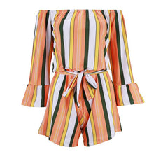 Load image into Gallery viewer, Butterfly Sleeve Off Shoulder Bandage Stripe Romper