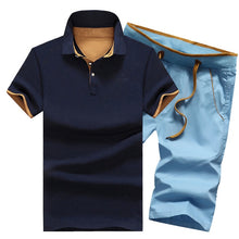 Load image into Gallery viewer, Mens Cotton Two Piece Button Polo Shirts + Elastic Waist Shorts