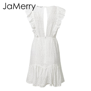 Vintage white lace ruffled embroidery women dress