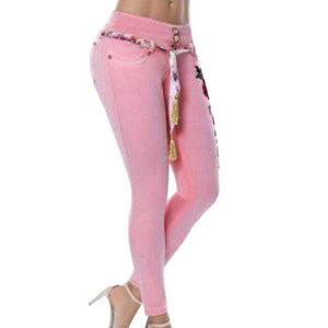 Womens Stretch Embroidery Skinny Jeans