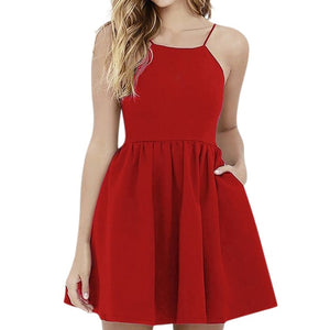 Boho Sling Backless Waist Mini Dress