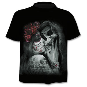 short sleeves 3d Prints skull T-shirts