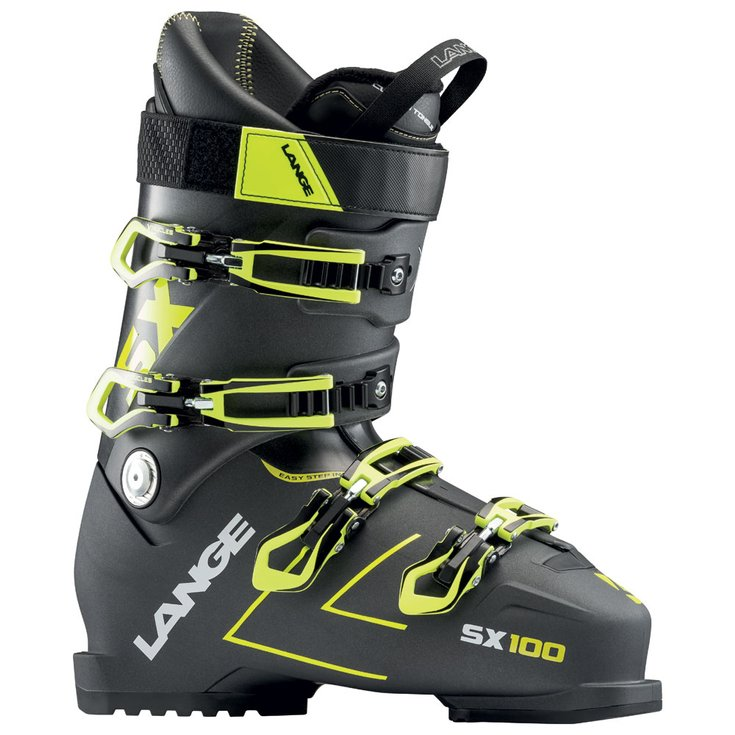 Mens Lange SX100 Anthracite/Yellow Ski Boots