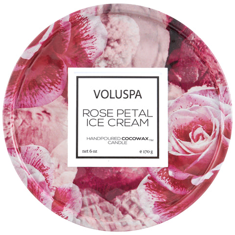 Rose Petal Ice Cream - 6 oz Tin Candle