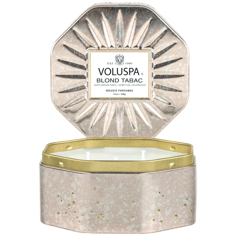 BLOND TABAC - 3 WICK OCTAGON TIN CANDLE