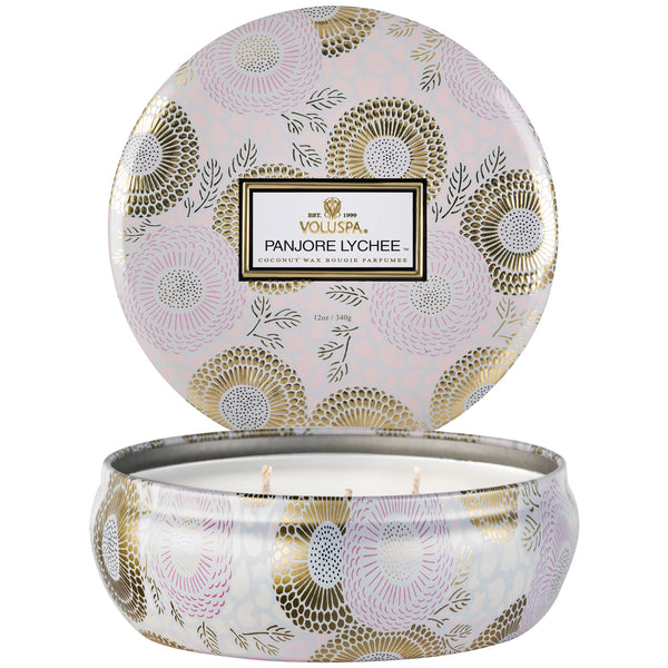 Panjore Lychee - 3 Wick Tin Candle - 2