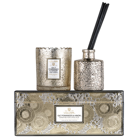 Gilt Pomander & Hinoki - Scalloped Edge Candle & Diffuser Gift Set