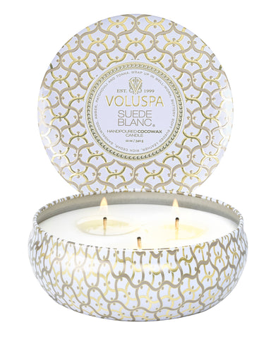 Suede Blanc - 3 Wick Tin Candle
