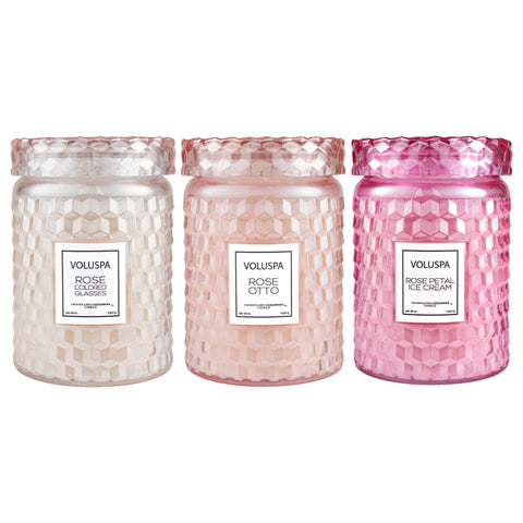 Bouquet Of Pink Roses - Large Jar Candle Trio