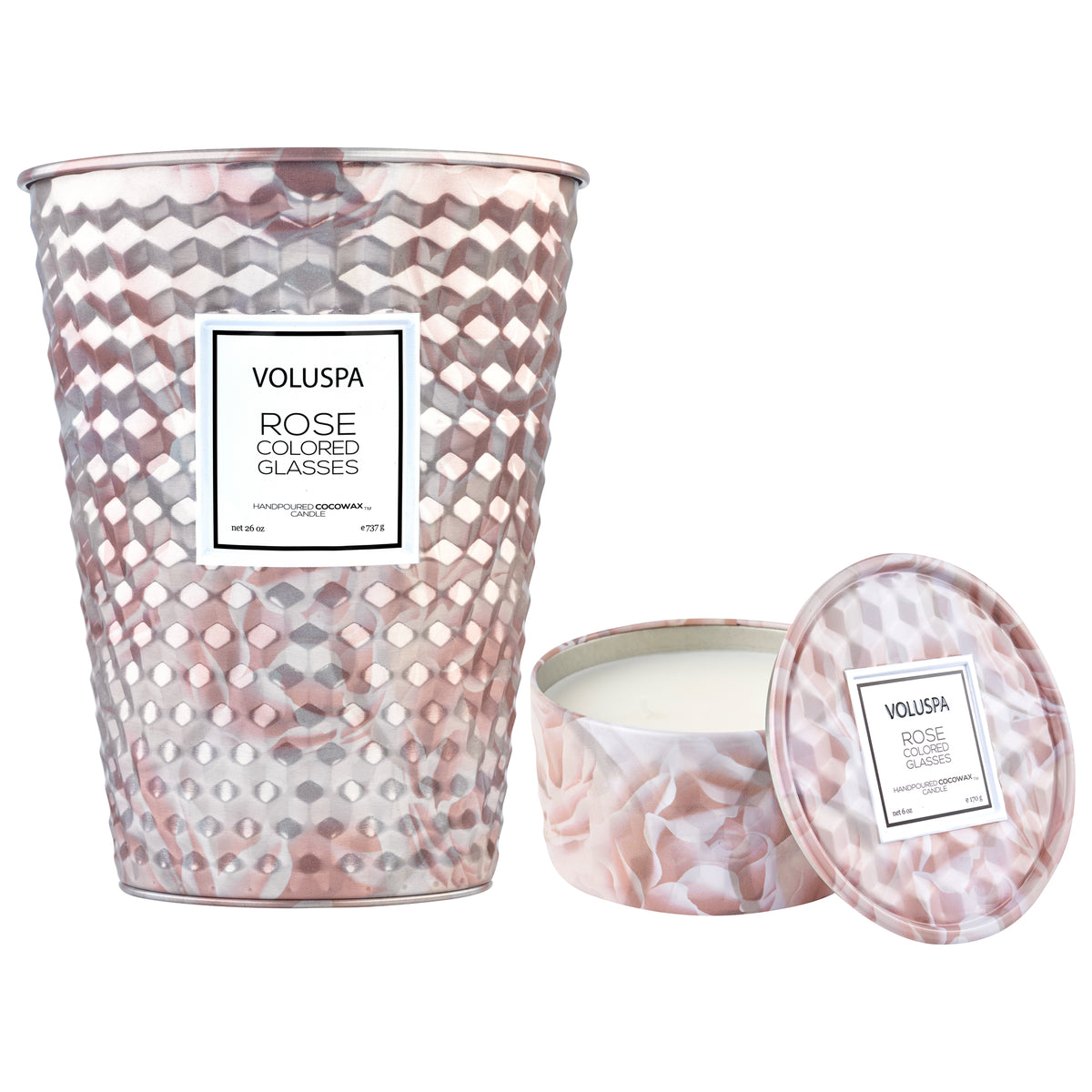 Pretty In Pink - 2 Wick Table Tin + 6 oz Tin Candle Duo - 1