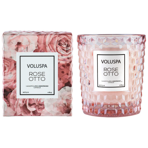 Rose Otto - Textured Glass Candle