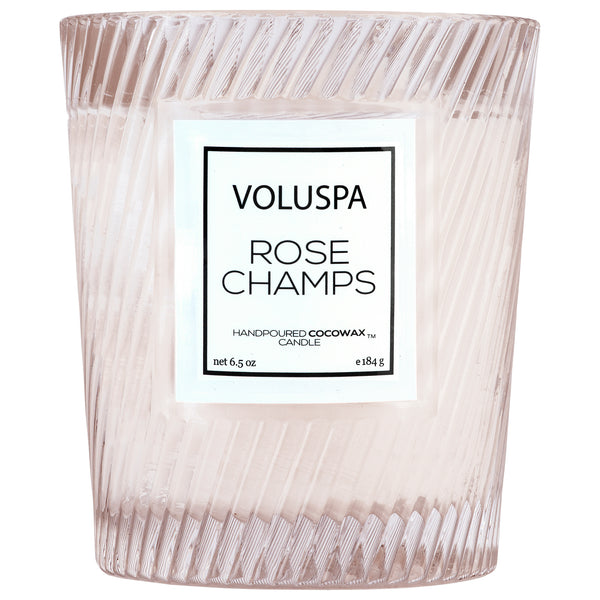 Rose Champs - Textured Glass Candle - 1