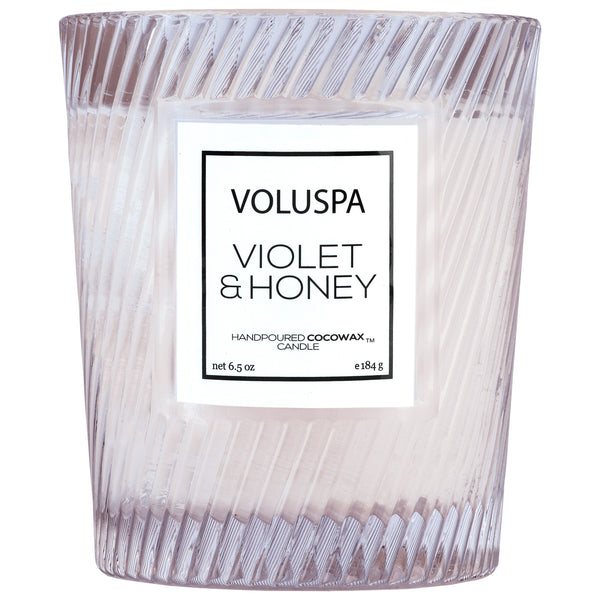 Violet & Honey - Textured Glass Candle - 1