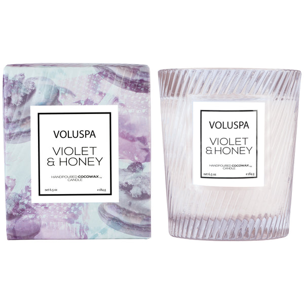 Violet & Honey - Textured Glass Candle - 2