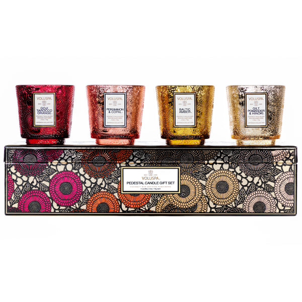 Warm Tones - Pedestal 4 Candle Gift Set - 1