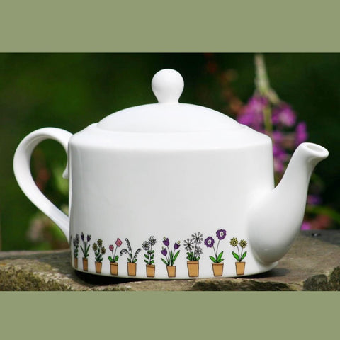 Flower Pots oval Tea Pot